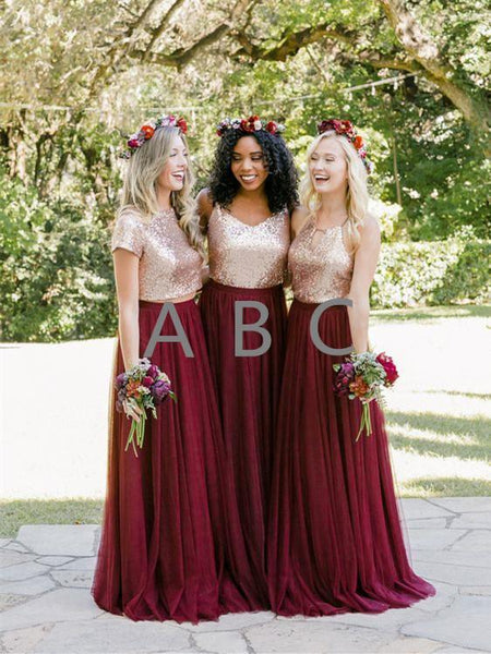 BohoProm Bridesmaid Dress A-line Scoop/V-neck/Halter Floor-Length Tulle Bridesmaid Dresses HX00117