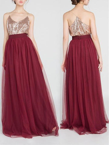 BohoProm Bridesmaid Dress A-line Spaghetti Strap Floor-Length Tulle Burgundy Bridesmaid Dresses HX00176