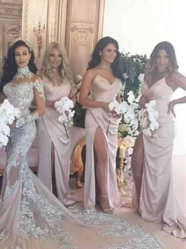 BohoProm Bridesmaid Dress A-line Spaghetti Strap Sweep Train Satin Simple Bridesmaid Dresses ASD26763