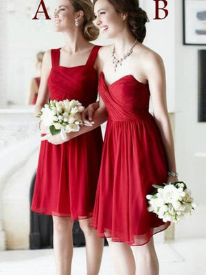 BohoProm Bridesmaid Dress A-line Square /Sweetheart Knee Length Chiffon Red Bridesmaid Dresses HX0013
