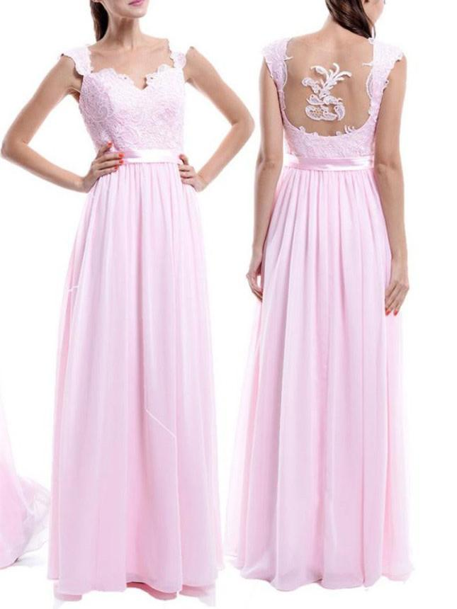 BohoProm Bridesmaid Dress A-line Sweetheart Floor-Length Chiffon Appliqued Bridesmaid Dresses ABC00015