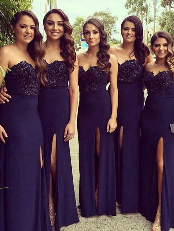 BohoProm Bridesmaid Dress A-line Sweetheart Floor-Length Chiffon Appliqued Split Front Bridesmaid Dresses 2854