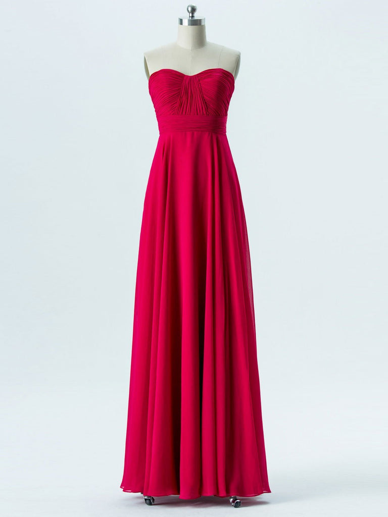 BohoProm Bridesmaid Dress A-line Sweetheart Floor-Length Chiffon Bridesmaid Dresses 2862