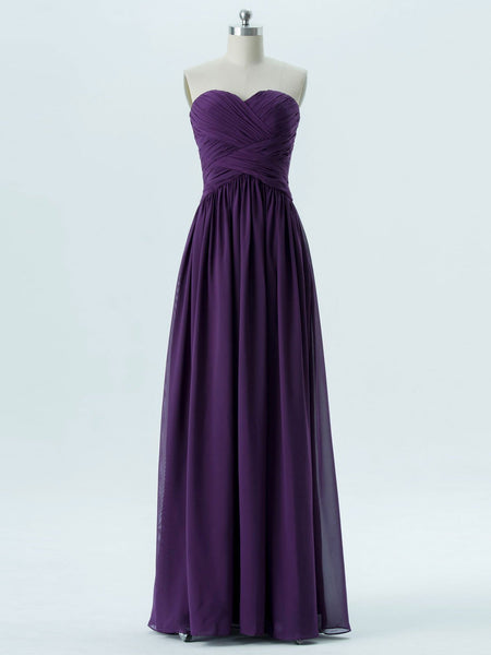 BohoProm Bridesmaid Dress A-line Sweetheart Floor-Length Chiffon Bridesmaid Dresses 2869