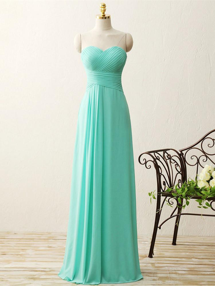 BohoProm Bridesmaid Dress A-line Sweetheart Floor-Length Chiffon Simple Mint Bridesmaid Dresses ABC00020