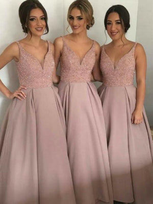 BohoProm Bridesmaid Dress A-line Sweetheart Floor-Length Satin Dusty Rose Bridesmaid Dresses With Beading HX002