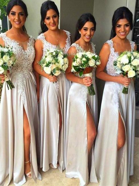 BohoProm Bridesmaid Dress A-line Sweetheart Floor-Length Satin White Bridesmaid Dresses With Appliques HX003