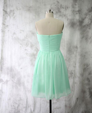BohoProm Bridesmaid Dress A-line Sweetheart Mini Chiffon Simple Mint Bridesmaid Dresses ABC00019