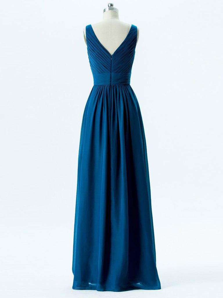 BohoProm Bridesmaid Dress A-line V-Neck Floor-Length Chiffon Bridesmaid Dresses 2861