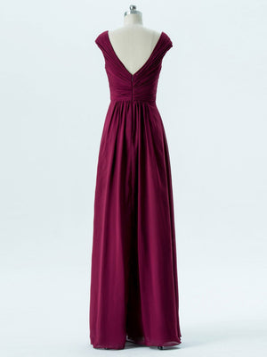 BohoProm Bridesmaid Dress A-line V-Neck Floor-Length Chiffon Bridesmaid Dresses 2871