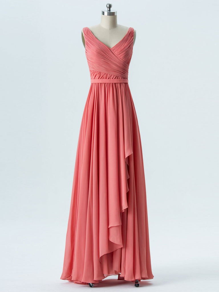 BohoProm Bridesmaid Dress A-line  V- Neck  Floor-Length Chiffon Bridesmaid Dresses 2873