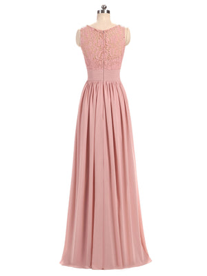 BohoProm Bridesmaid Dress A-line V-Neck Floor-Length Chiffon Lace  Pink Bridesmaid Dresses 2827
