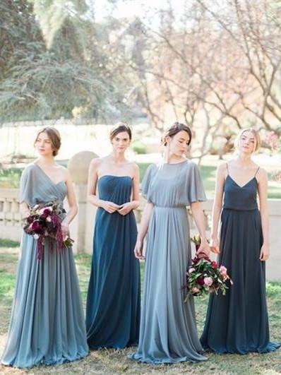 BohoProm Bridesmaid Dress Alluring Chiffon Sweep Train A-line Bridesmaid Dresses With Pleats BD072