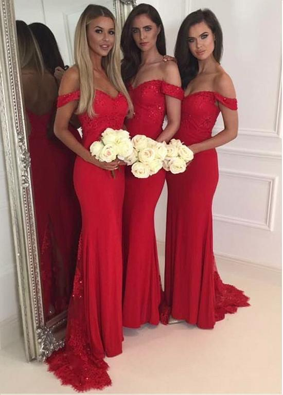 BohoProm Bridesmaid Dress Attractive Chiffon Off-the-shoulder Neckline Sheath Bridesmaid Dresses With Beaded Appliques BD022