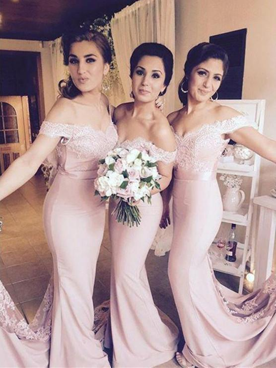 BohoProm Bridesmaid Dress Charming Stretch Satin Off-the-shoulder Neckline Mermaid Bridesmaid Dresses BD097