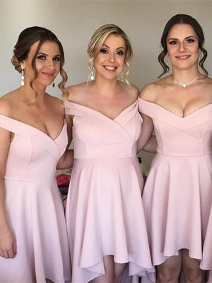 BohoProm Bridesmaid Dress Cheap Chiffon Off-the-shoulder Neckline Hi-lo A-line Bridesmaid Dresses BD069