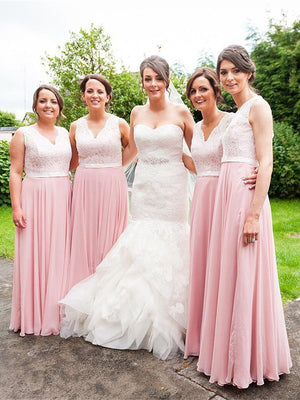 BohoProm Bridesmaid Dress Chic Lace & Chiffon V-neck Neckline A-line Bridesmaid Dresses With Belt BD067