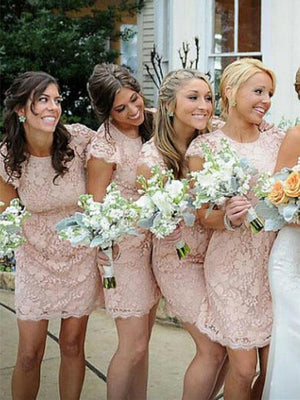 BohoProm Bridesmaid Dress Column Scoop-Neck Knee-Length Lace Pink Bridesmaid Dresses HX0021