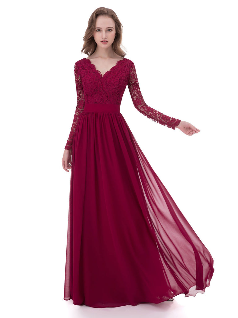 BohoProm Bridesmaid Dress Delicate Chiffon & Lace V-neck Neckline A-line Bridesmaid Dresses BD021