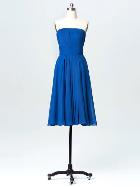 BohoProm Bridesmaid Dress Delicate Chiffon Strapless Neckline A-line Bridesmaid Dresses With Pleats BD009