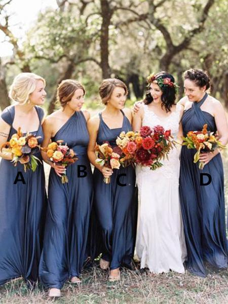 BohoProm Bridesmaid Dress Delicate Chiffon Sweep Train A-line Bridesmaid Dresses With Pleats BD074