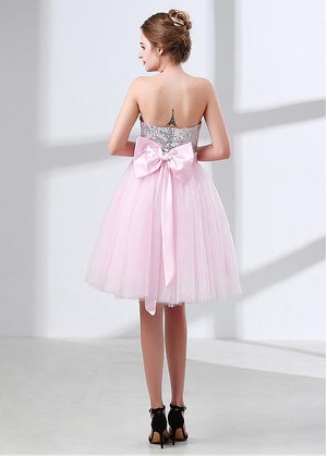 BohoProm Bridesmaid Dress Delicate Sequin Lace & Tulle Sweetheart Neckline Short Length A-line Bridesmaid Dresses BD034