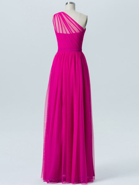 BohoProm Bridesmaid Dress Elegant Tulle One Shoulder Neckline Floor-length A-line Bridesmaid Dresses With Pleats BD003