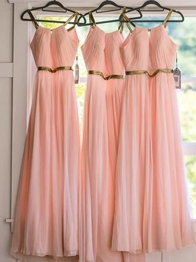 BohoProm Bridesmaid Dress Excellent Chiffon Spaghetti Straps Neckline A-line Bridesmaid Dresses With Pleats BD041
