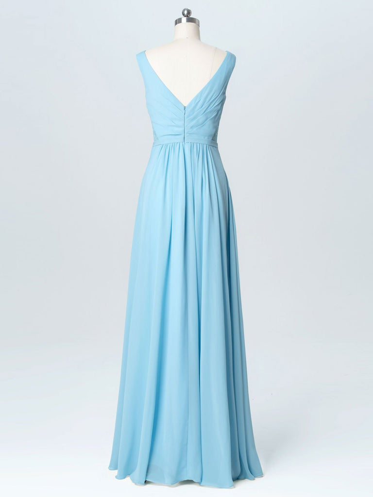 BohoProm Bridesmaid Dress Excellent Chiffon V-neck Neckline A-line Bridesmaid Dresses With Appliques BD011