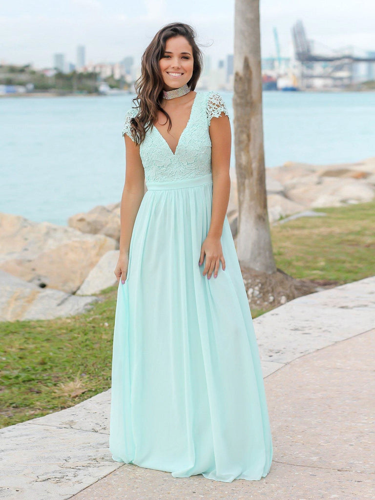 BohoProm Bridesmaid Dress Excellent Chiffon V-neck Neckline Cap Sleeves A-line Bridesmaid Dresses With Appliques BD015