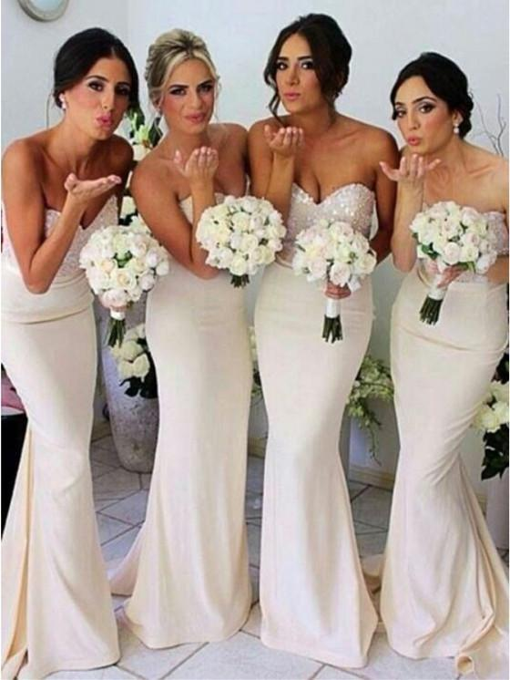 BohoProm Bridesmaid Dress Excellent Stretch Satin Sweetheart Neckline Sheath Bridesmaid Dresses BD094