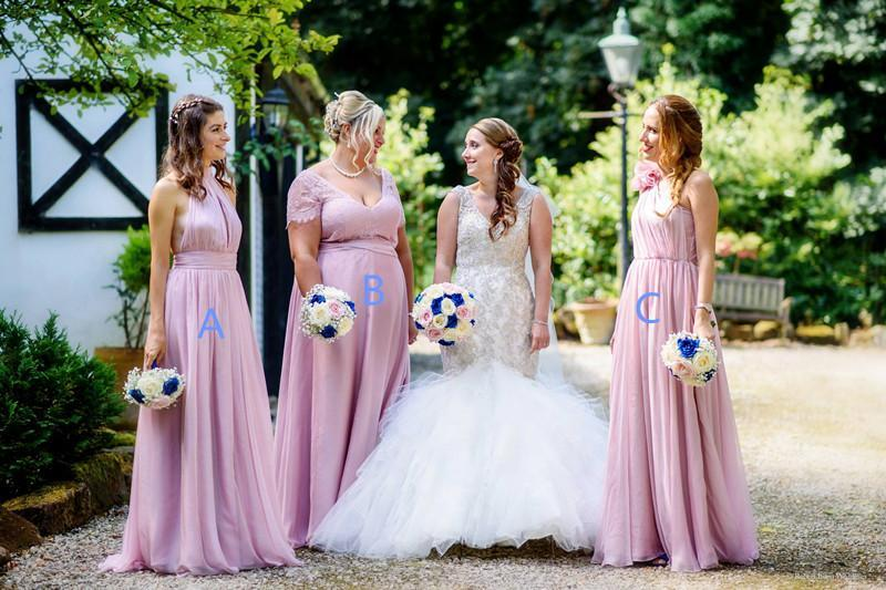 BohoProm Bridesmaid Dress Exquisite Chiffon Floor-length multi-choice A-line Bridesmaid Dresses With Pleats BD042