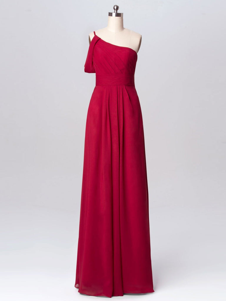 BohoProm Bridesmaid Dress Eye-catching Chiffon One Shoulder Neckline A-line Bridesmaid Dress BD006