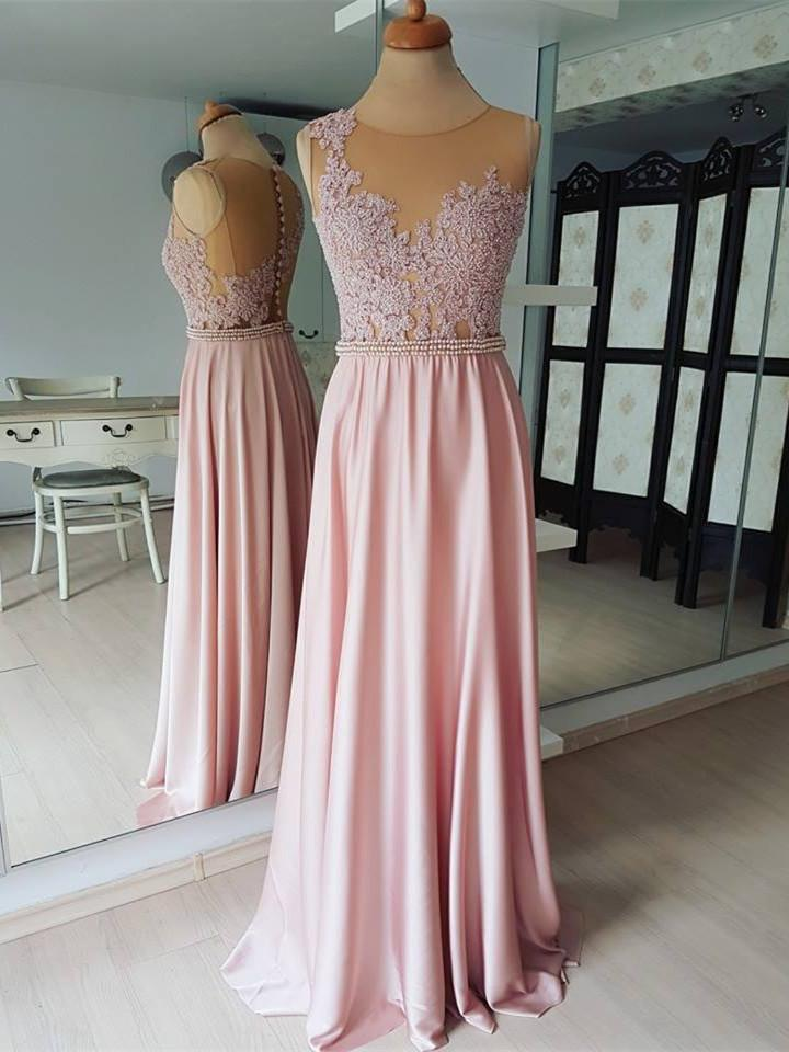 BohoProm Bridesmaid Dress Eye-catching Satin Chiffon Jewel Neckline A-line Bridesmaid Dresses BD044