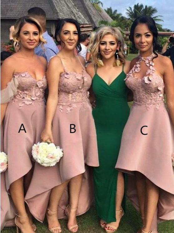 BohoProm Bridesmaid Dress Eye-catching Satin Hi-lo Length A-line Bridesmaid Dresses With Appliques BD096