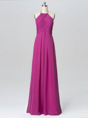 BohoProm Bridesmaid Dress Fabulous Chiffon Halter Neckline Floor-length A-line Bridesmaid Dress BD012