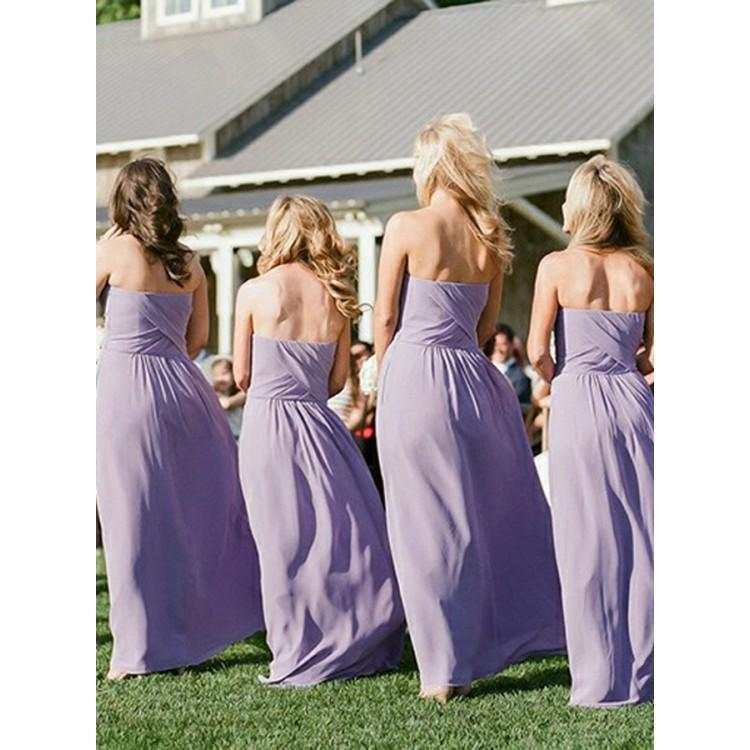 BohoProm Bridesmaid Dress Fabulous Chiffon Strapless Neckline A-line Bridesmaid Dresses BD090