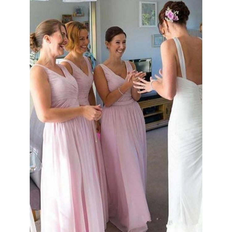 BohoProm Bridesmaid Dress Fabulous Chiffon V-neck Neckline Floor-length A-line Bridesmaid Dresses BD095