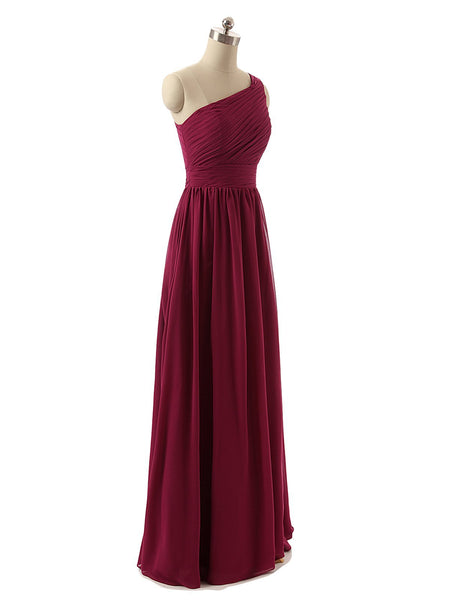 BohoProm Bridesmaid Dress Glamorous Chiffon One Shoulder Neckline Floor-length A-line Bridesmaid Dresses BD048