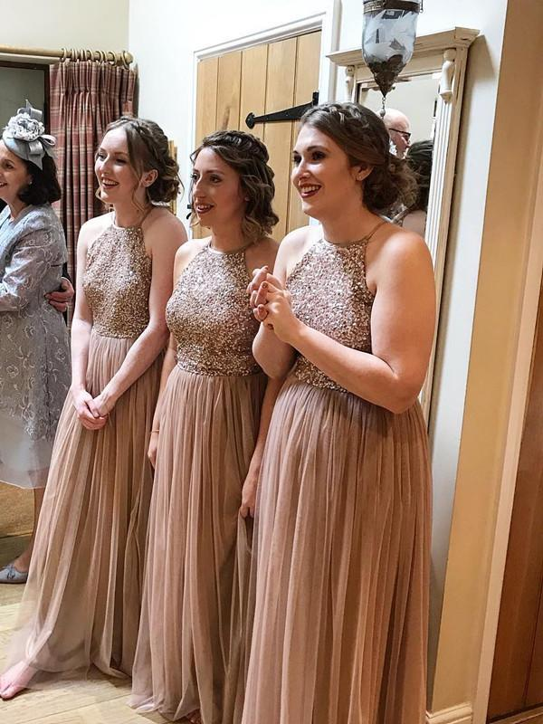 BohoProm Bridesmaid Dress Gorgeous Tulle Jewel Neckline Floor-length A-line Bridesmaid Dresses With Beadings BD049