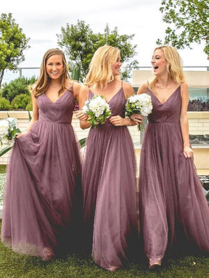 BohoProm Bridesmaid Dress Graceful Tulle Spaghetti Straps Neckline A-line Bridesmaid Dresses BD083