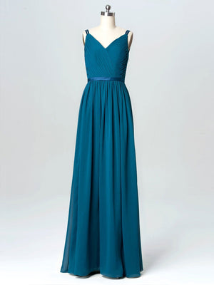 BohoProm Bridesmaid Dress Junoesque Chiffon Spaghetti Straps Neckline Floor-length A-line Bridesmaid Dresses With Pleats BD001