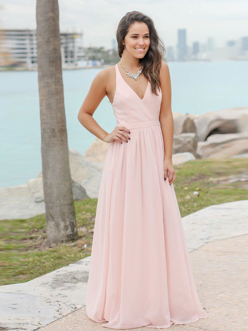 BohoProm Bridesmaid Dress Junoesque Chiffon V-neck Neckline A-line Bridesmaid Dresses With Appliques BD017