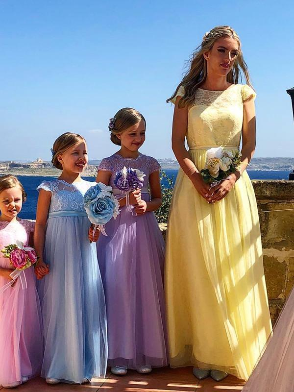 BohoProm Bridesmaid Dress Marvelous Tulle & Lace Bateau Neckline Cap Sleeves A-line Bridesmaid Dresses BD050