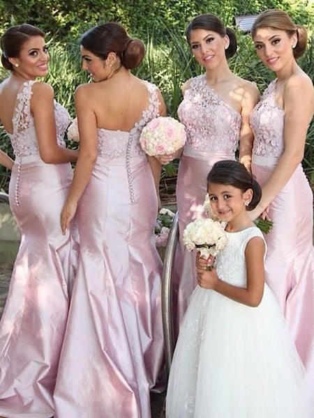BohoProm Bridesmaid Dress Mermaid Asymmetric Sweep Train Satin Appliqued Bridesmaid Dresses ASD2697