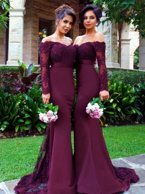 BohoProm Bridesmaid Dress Mermaid Off-Shoulder Sweep Train Satin Appliqued Beaded Bridesmaid Dresses ASD2699