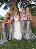 BohoProm Bridesmaid Dress Mermaid Scoop-neck Sweep Train Sequin Bridesmaid Dresses ASD2693