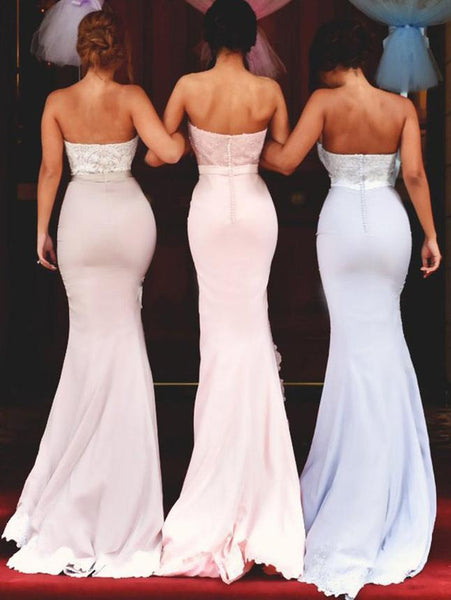 BohoProm Bridesmaid Dress Mermaid Sweetheart Sweep Train Satin Appliqued Bridesmaid Dresses ASD2692