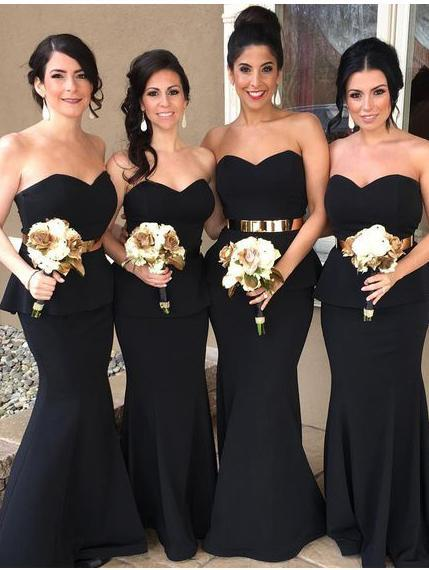 BohoProm Bridesmaid Dress Mermaid Sweetheart Sweep Train Satin Simple Black Bridesmaid Dresses ASD2690
