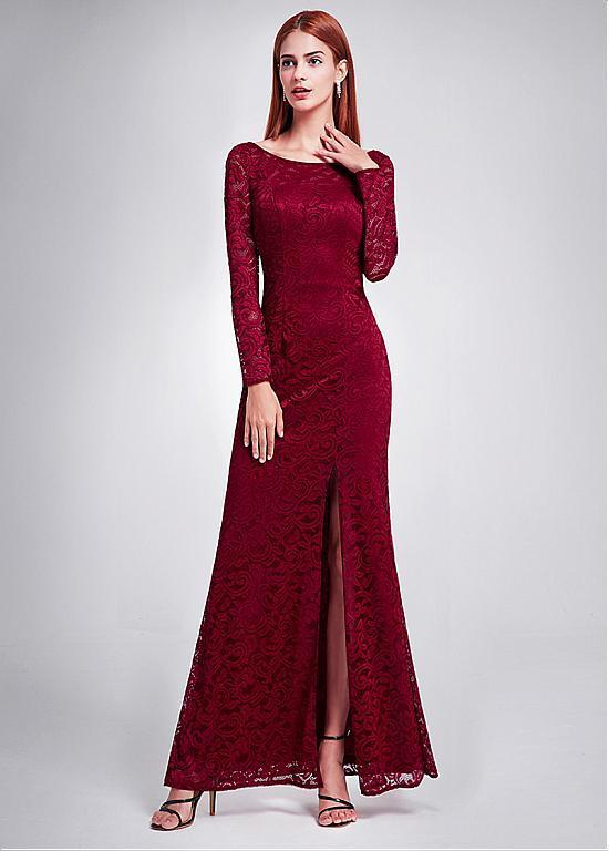 BohoProm Bridesmaid Dress Modern Lace Bateau Neckline Sheath Bridesmaid Dresses With Slit BD031